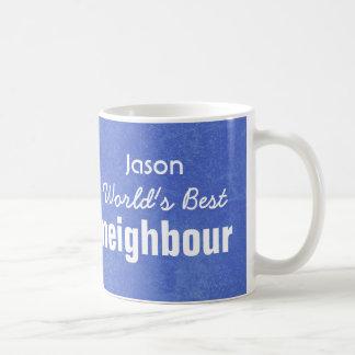 World's Best NEIGHBOUR Blue Custom Name JASON Coffee Mugs
