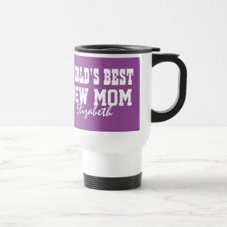 World's Best NEW MOM Custom Name PURPLE A07 Travel Mug