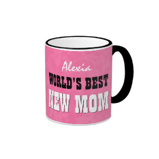 World's Best NEW MOM Pink Grunge V28 Ringer Coffee Mug