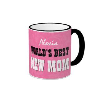World's Best NEW MOM Pink Grunge V28 Ringer Mug