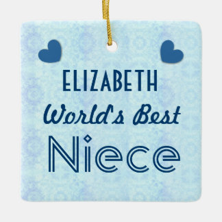 World's Best NIECE with Blue Hearts A04 Ceramic Ornament