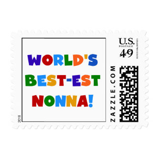 World's Best Nonna Bright Colors T-shirts and Gift Postage Stamps