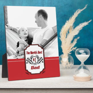 World's Best Number One Dad Photo Checkered Flag Plaque