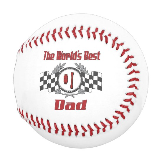 World's Best Number One Dad Racing Theme Baseball