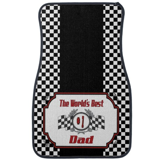 World's Best Number One Dad Racing Theme Car Floor Mat