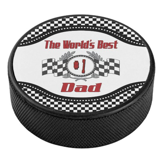 World's Best Number One Dad Racing Theme Hockey Puck
