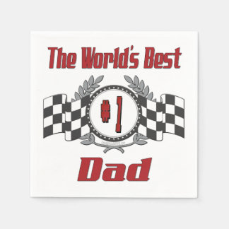 World's Best Number One Dad Racing Theme Napkin