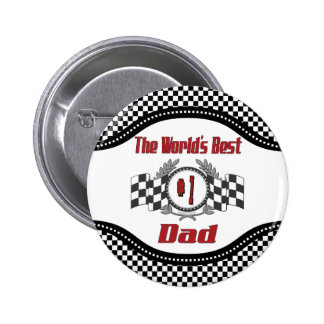 World's Best Number One Dad Racing Theme Pinback Button