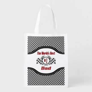 World's Best Number One Dad Racing Theme Reusable Grocery Bag