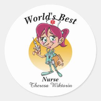 World's Best Nurse Classic Round Sticker