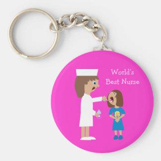 World's Best Nurse Cute Cartoon Nurse & Child Keychains