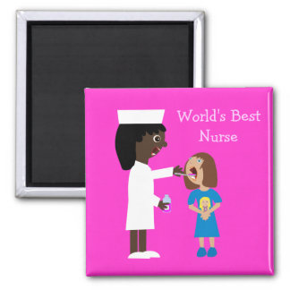 World's Best Nurse Cute Cartoon Nurse & Child Magnet