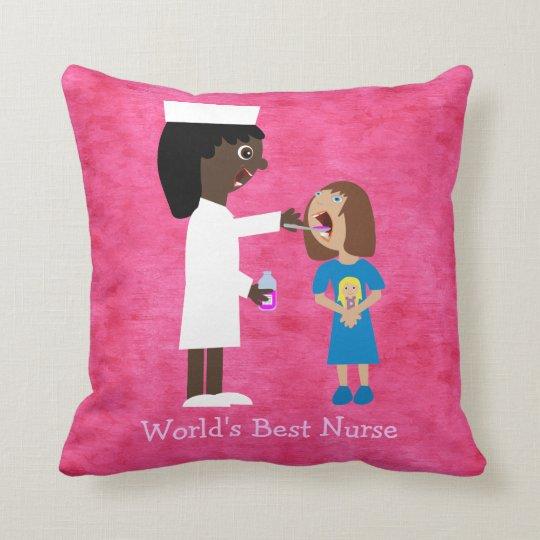 World's Best Nurse Cute Cartoon Nurse & Child Throw Pillow