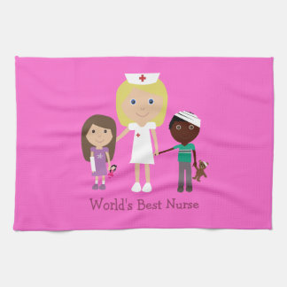 World's Best Nurse Cute Cartoon Nurse & Kids Pink Towel