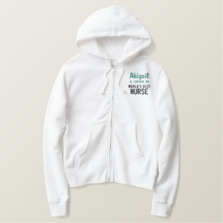 World's Best Nurse in Green with Name Embroidered Hoodie