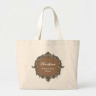 Worlds Best Nurse Vintage Frame Coffee Jumbo Tote Bag