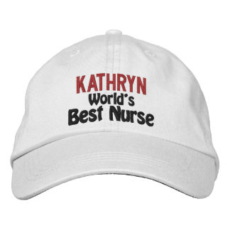 World's Best Nurse with Red Name Embroidered Baseball Cap