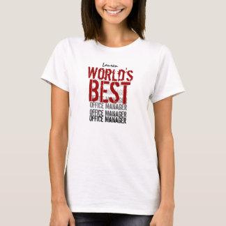 World's Best Office Manager Custom Name Red Black T-Shirt
