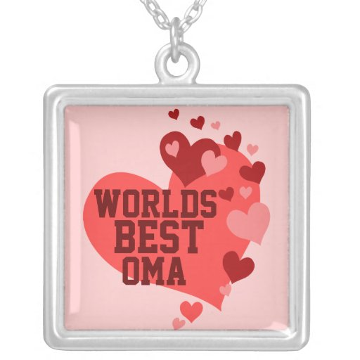 Worlds Best Oma (or any name) Square Pendant Necklace