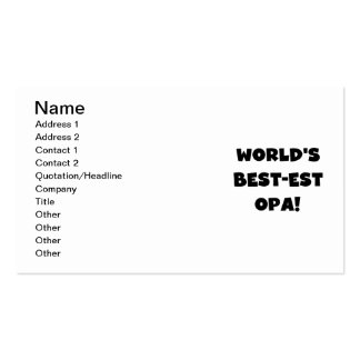 World's Best Opa Black Text T-shirts and Gifts Business Card