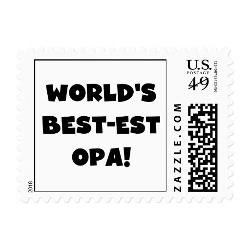 World's Best Opa Black Text T-shirts and Gifts Postage Stamps