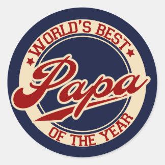World's Best Papa Classic Round Sticker