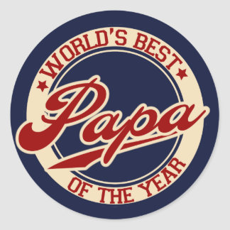 World's Best Papa Classic Round Sticker