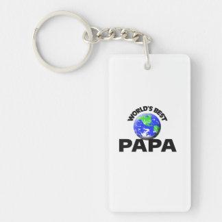 World's Best Papa Double-Sided Rectangular Acrylic Keychain