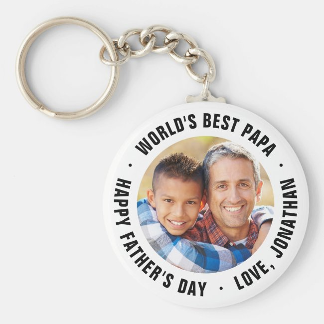 World's Best Papa Father's Day Photo Gift Keychain