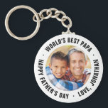 "World's Best Papa Father's Day Photo Gift Keychain<br><div class=""desc"">Custom printed key chains personalized with your special photo and custom text to make a one of a kind Father's Day gift. Use the design tools to customize the Happy Father's Day message or add more photos to create your own unique Father's Day gifts for dad and grandpa!</div>"