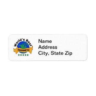 World's Best Paramedic Return Address Label