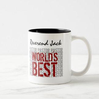 World's Best PASTOR Custom Name B29H Two-Tone Coffee Mug