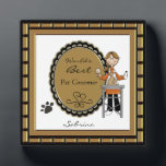 "World&#39;s Best Pet Groomer Female Plaque<br><div class=""desc"">Personalize this plaque for your favorite pet salon grooming lady, animal caretaker or your Mom. Just use the customize button to edit the text in the easy Zazzle text editor. Cute image features a lady grooming a dog with a paw print accent. Male version also available. Created with artwork by...</div>"