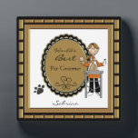 """World&#39;s Best Pet Groomer Female Plaque<br><div class=""""desc"""">Personalize this plaque for your favorite pet salon grooming lady, animal caretaker or your Mom. Just use the customize button to edit the text in the easy Zazzle text editor. Cute image features a lady grooming a dog with a paw print accent. Male version also available. Created with artwork by...</div>"""