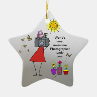 World's Best Photographer Lady - Star Ornament