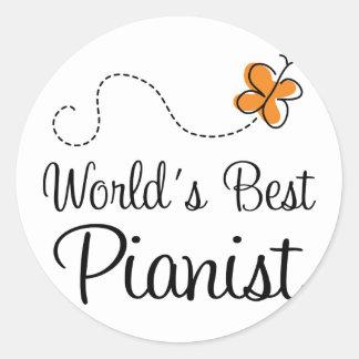 Worlds Best Pianist Orange Round Sticker