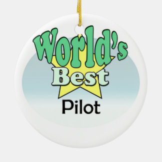 World's best pilot ceramic ornament