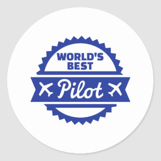 World's best Pilot Classic Round Sticker