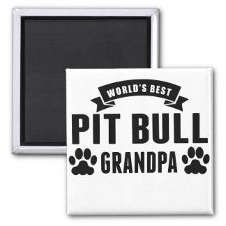 World's Best Pit Bull Grandpa 2 Inch Square Magnet