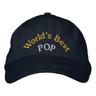 World's Best Pop Embroidered Baseball Cap/Hat Embroidered Baseball Cap