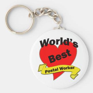 World's Best Postal Worker Basic Round Button Keychain