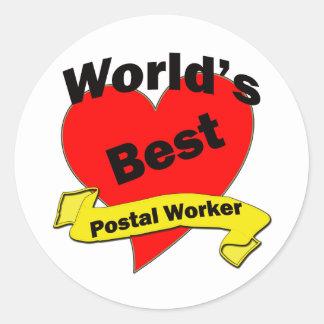 World's Best Postal Worker Round Stickers