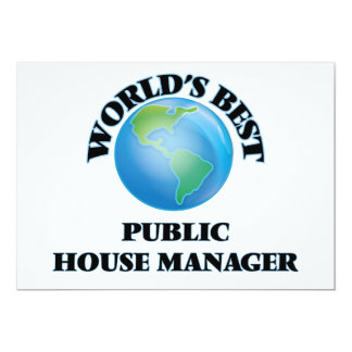 """World's Best Public House Manager 5"""" X 7"""" Invitation Card"""
