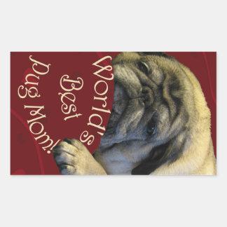 World's Best Pug Mom Rectangular Sticker