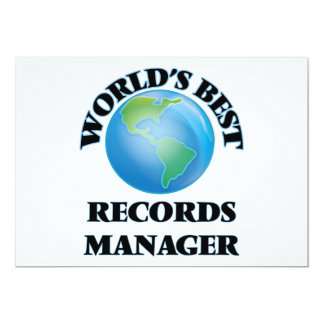 World's Best Records Manager 5x7 Paper Invitation Card