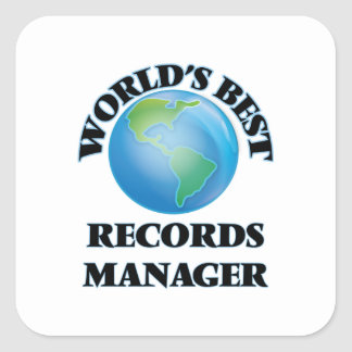 World's Best Records Manager Square Stickers