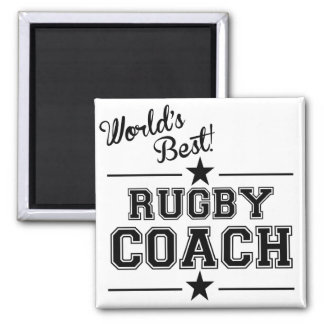 World's Best Rugby Coach 2 Inch Square Magnet