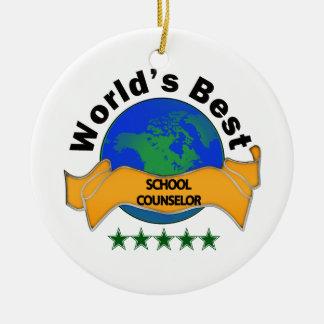 World's Best School Counselor Ceramic Ornament