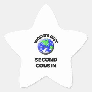 World's Best Second Cousin Star Sticker