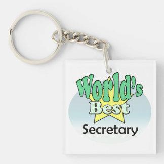 World's best Secretary Single-Sided Square Acrylic Keychain
